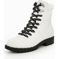 V by Very Stomp Chunky Sole Lace Up Boot - White, White, Size 3, Women