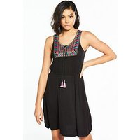 V by Very Embroidered Jersey Dress - Black, Black, Size 8, Women