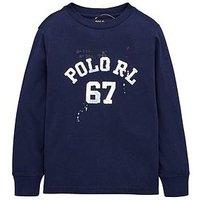 Ralph Lauren Boys Long Sleeve Graphic T-Shirt, Newport Navy, Size 6 Years