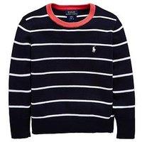 Ralph Lauren Boys Stripe Knitted Jumper, Hunter Navy Multi, Size Age: 5 Years
