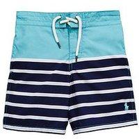 Ralph Lauren Boys Stripe Swimshort, Deep Seafoam Multi, Size 3 Years