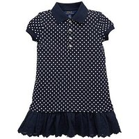 Ralph Lauren Girls Stripe Polo Dress, Navy/White, Size 12-14 Years=L, Women
