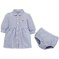 Ralph Lauren Baby Girls Stripe Shirt Dress, Royal/White, Size 18 Months