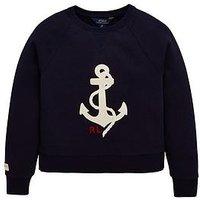 Boys, Ralph Lauren Girls Graphic Sweat Top, Hunter Navy, Size Age: 5 Years