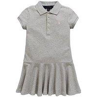 Ralph Lauren Girls Short Sleeve Polo Dress, Andover Heather, Size 12-14 Years=L, Women