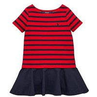 Ralph Lauren Girls Stripe Ponte Dress, Red/Navy, Size 8-10 Years=M, Women