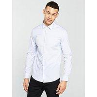 Calvin Klein Calvin Klein Long Sleeve Ck Stripe Slim Bari Shirt, Blue, Size 42=16.5In, Men
