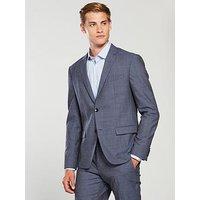Calvin Klein Super 100s Micro Check Suit, Olympian Blue, Size 50=40R Jkt / 34 Trs, Men