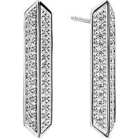 Sif Jakobs Sterling Silver Rhodium Plated Trapani Earrings with Cubic Zirconia, Silver, Women