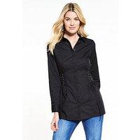 V by Very Longline Corset Shirt - Black, Black, Size 8, Women