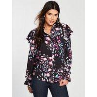V by Very Ruffle Shoulder Blouse - Black Floral, Black Floral, Size 12, Women