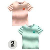 Mini V by Very Boys 2 Pack Slub Jersey Stripe Tees, Multi, Size Age: 2-3 Years