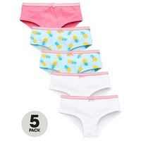 V by Very 5 Pk Pinapple Boyfriend Shorties, Multi, Size 11 Years, Women