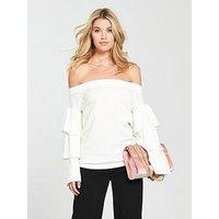 V by Very Bardot Tiered Sleeve Jumper, Cream, Size 18, Women