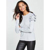V by Very Tiered Frill Shoulder Jumper - Grey Marl, Grey Marl, Size 10, Women