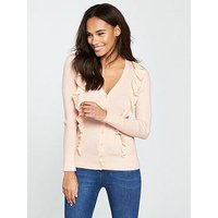 V by Very V-neck Frill Detail Button Ribbed Cardigan - Nude Pink, Nude Pink, Size 10, Women
