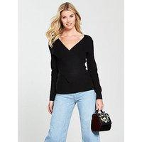 V by Very Wrap Over Rib Jumper - Black, Black, Size 16, Women