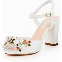 Dune London Mackaya Flower Garden Block  Heeled Sandal - White, White, Size 8, Women
