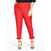 V by Very Curve Ruffle Hem Trouser - Red , Red, Size 26, Women