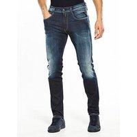 Replay Hyperflex Anbass Slim Fit Jeans, Blue/Black, Size 36, Length Regular, Men