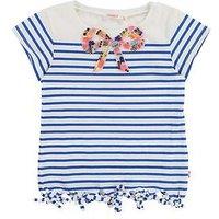 Billieblush Girls Embellished Stripe T-shirt, Blue/White, Size Age: 2 Years, Women