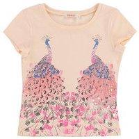Billieblush Girls Short Sleeve Peacock Print T-shirt, Pale Pink, Size Age: 4 Years, Women