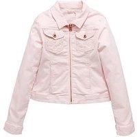 Billieblush Girls Embroidered Denim Jacket, Pale Pink, Size 3 Years, Women