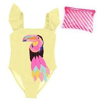 Billieblush Girls Glitter Tucan Swimsuit, Yellow, Size Age: 3 Years, Women