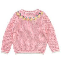 Billieblush Girls Embroidred Knitted Jumper, Pink, Size Age: 12 Years, Women