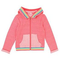 Billieblush Girls Rainbow Knitted Zip Through Jacket, Fuchsia, Size 8 Years, Women