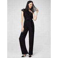 Mango One Shoulder Lace Jumpsuit, Black, Size M=10, Women
