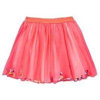 Billieblush Girls Pom Pom Mesh Tutu Skirt, Fuchsia, Size Age: 4 Years, Women