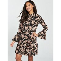 V by Very Pleated Hem Swing Tunic Dress, Floral, Size 8, Women