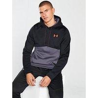 UNDER ARMOUR Fleece Solid Overhead Hoody, Black/Neon Coral, Size 2Xl, Men