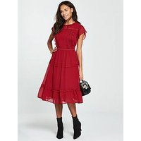 V by Very Lace Trim Midi Dress, Rust, Size 20, Women
