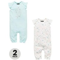 Mini V by Very Baby Girls 2pk Short Sleeved Rompers, Multi, Size Age(Months): 0-3 Months (14.5Lbs)