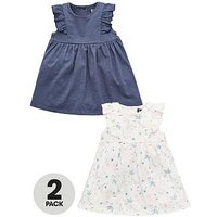 Mini V by Very Baby Girls 2 Pack Frill Printed Dresses, Multi, Size Age(Months): 12-18 Months