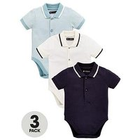Mini V by Very Baby Boys 3 Pack Polo Bodysuits, Multi, Size Age(Months): Newborn (10Lbs)