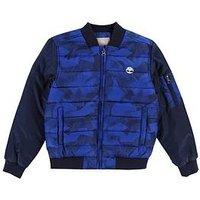 Timberland Boys Printed Padded Jacket, Navy, Size Age: 10 Years