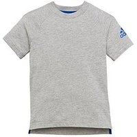 adidas Younger Boys Cotton Tee - Medium Grey Heather , Medium Grey Heather, Size 4-5 Years
