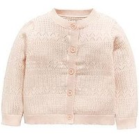 Mini V by Very Baby Girls Pretty Pointelle Cardigan, Pink, Size Age(Months): 9-12 Months (22Lbs)