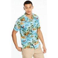 Levi's Short Sleeved Hawaiian Shirt, Pelican Camo Blue, Size L, Men