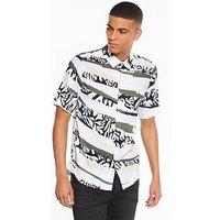 NATIVE YOUTH Tropical Camo Ss Shirt, White, Size M, Men