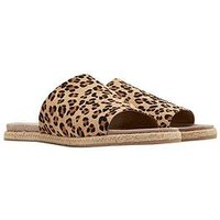 Joules Leather Molded Slide Sandal - Leopard Print, Leopard, Size 4, Women