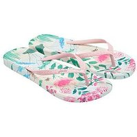 Joules Moulded Garden Ditsy Print Flip Flop - Floral Print, Cream Garden Ditsy, Size 4, Women