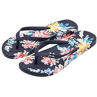 Joules Moulded Whistable Floral Flip Flop - Navy/Floral, Navy Whitstable Floral, Size 4, Women