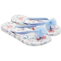 Joules Moulded White Sea Air Pom Pom Flip Flop, White Sea Air Ditsy, Size 3, Women