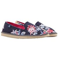 Joules Flipadrille Floral Print Espadrille, Navy Whitstable Floral, Size 3, Women
