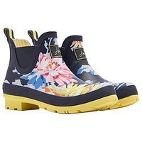 Joules Short Printed Whistable Wellibob Welly, Navy Whitstable Floral, Size 3, Women