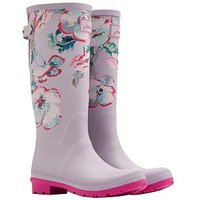 Joules Printed Tall Adjustable Welly - Cool Grey Poppy, Cool Grey Poppy, Size 6, Women